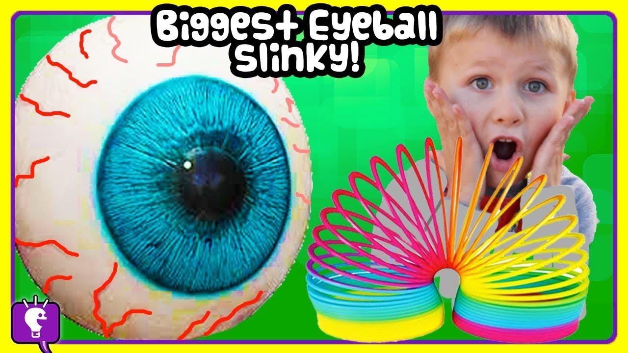 BIGGEST SLINKY EGG Compilation! Eyeball Egg + Thomas Train Fun HobbyKidsTV