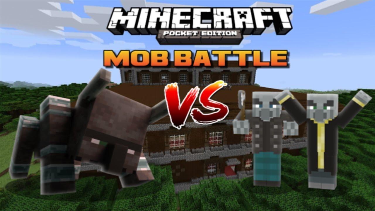 MINECRAFT PE RAVAGER VS ILLAGERS (MOB BATTLES) - YouTube