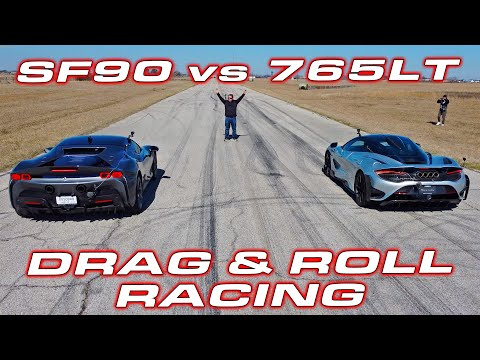 CLASH of the TITANS * 1,000 HP Ferrari SF90 Stradale vs McLaren 765LT Roll and Drag Racing