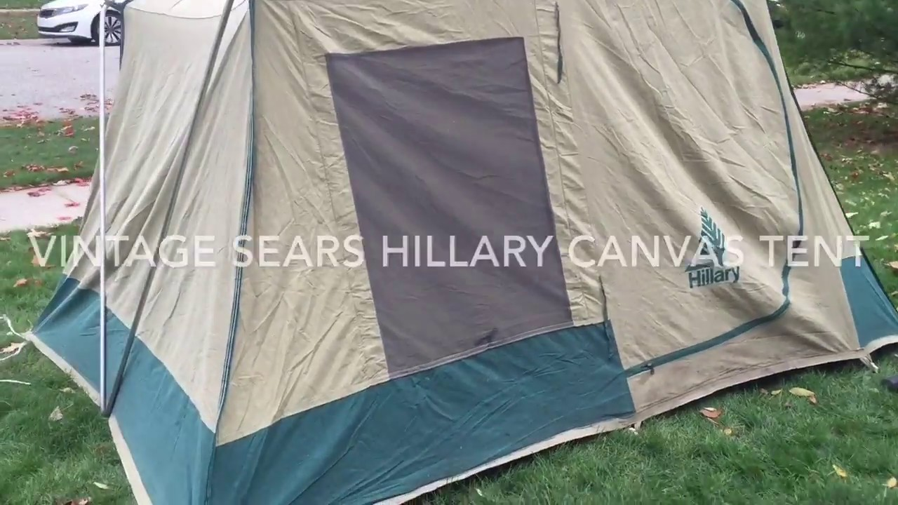Vintage Sears Hillary Canvas Tent - YouTube