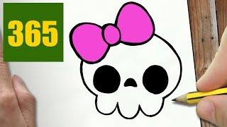 HOW TO DRAW A SKULL CUTE, Easy step by step drawing lessons for kids