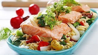 Salmon Over Lemon Spinach And Heirloom Tomato Orzo