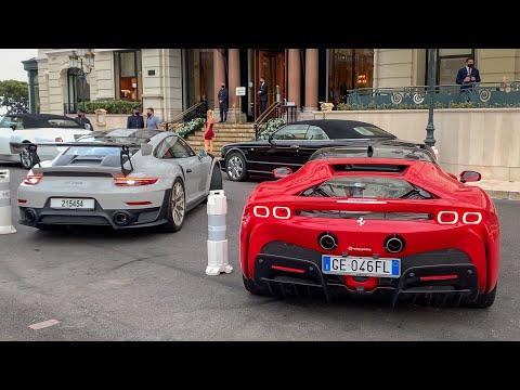 Supercars in Monaco 2021 - Ferrari SF90 x2, F12TDF, Lamborghini Aventador SVJ, Urus, Porsche GT2RS