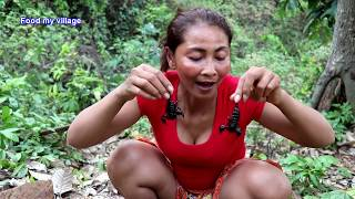 Catching scorpion by hand & fried scorpion on clay for food - Cooking scorpion eating delicious #74