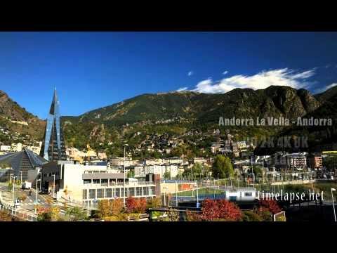 Andorra La Vella, Andorra - UHD Ultra HD 2K 4K Video Time Lapse Stock Footage Royalty-Free