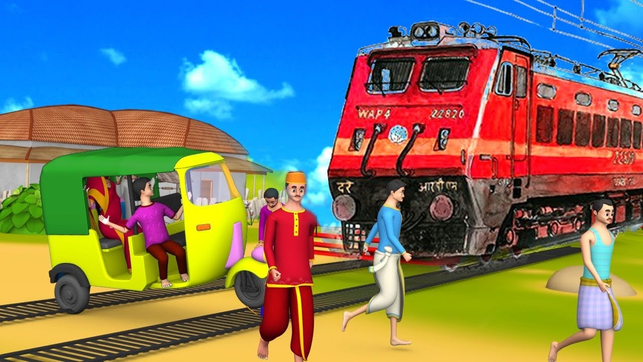 लालची ऑटो वाला ट्रेन बचाव - Auto Rickshaw Wala Train Rescue 3D Animated Hindi Moral Stories MaaMaaTV