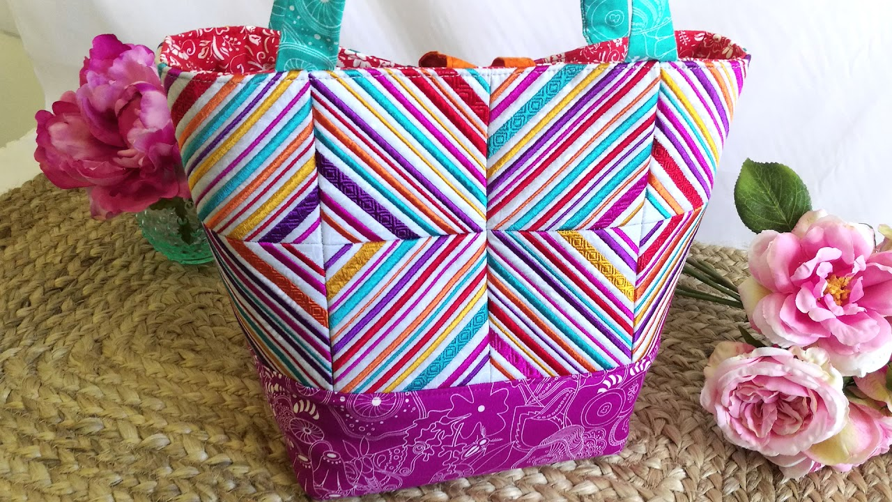 ZigZag Tote Bag Made In The hoop, Machine Embroidery Design
