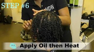 Wash & GO Like a Pro:  Step 6 - Add Oil & Heat to Your 2-Strand Twist Style to give in Longevity