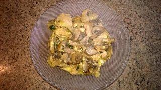 Куриное филе с шампиньонами и зеленью в мультиварке