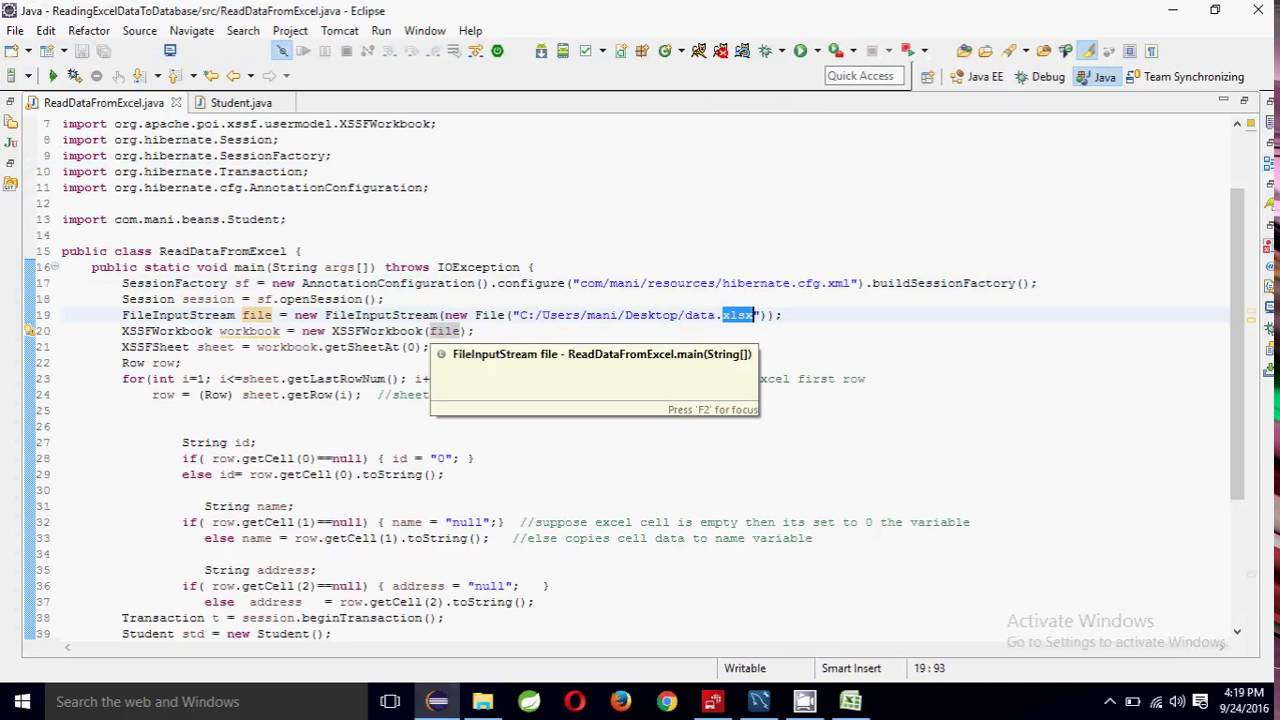 Reading Excel data and store in database   Java programming