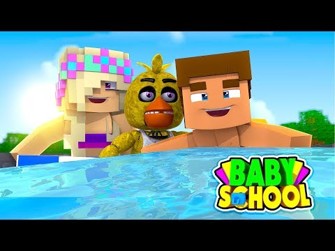 Minecraft BABY SCHOOL-BABY DONNY AND FNAF BABY CHICA GET SWIMMING LESSONS!!!