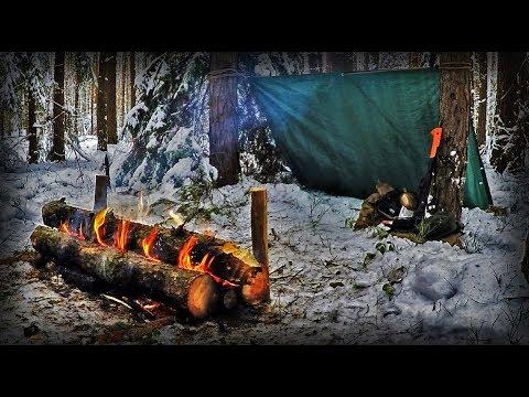 ПОХОД в ЛЕС/Костер Нодья/Укрытие в лесу/Shelter In The Forest