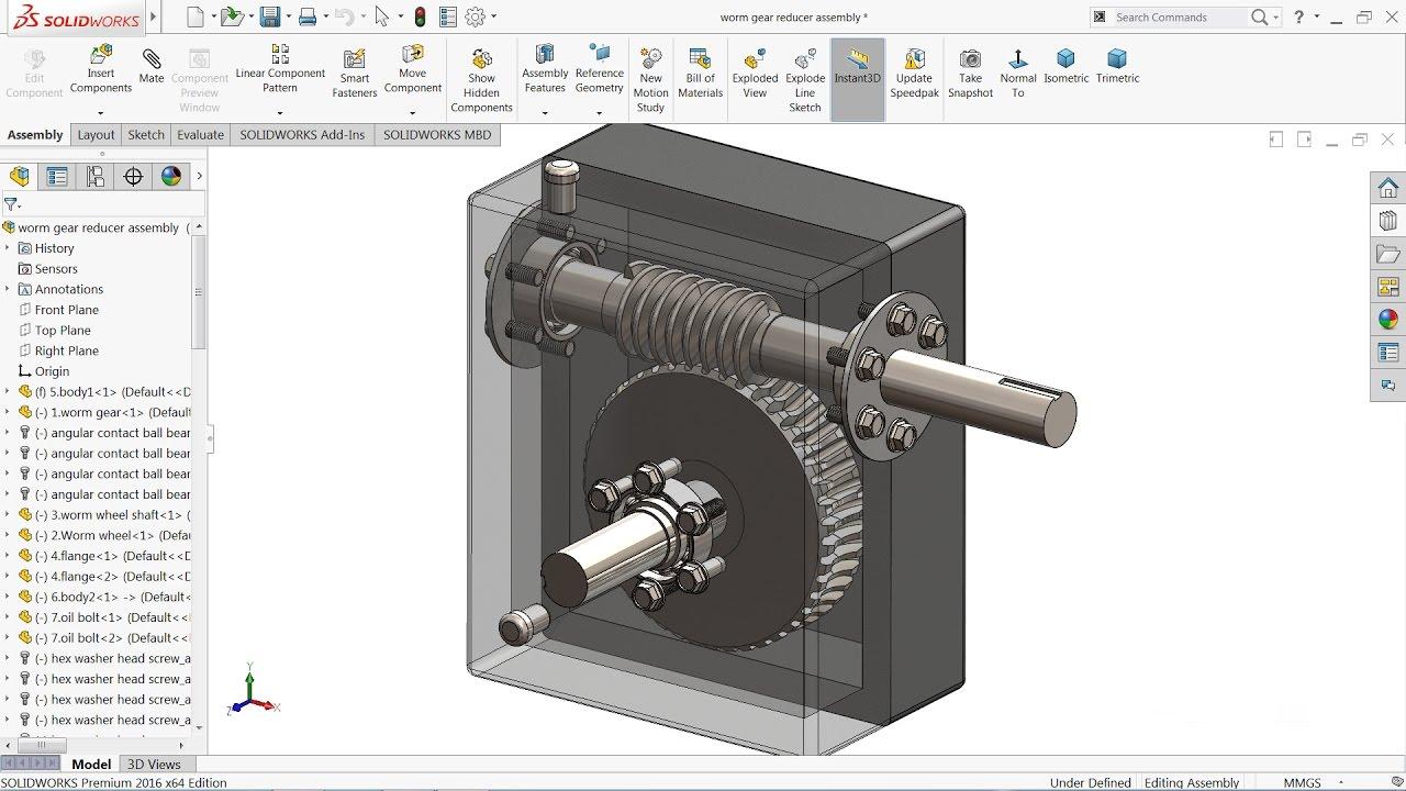 Solidworks tutorial | sketch Worm gear Reducer in Solidworks | Solidworks