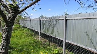 Облегченный продуваемый забор из профнастила для дачи.