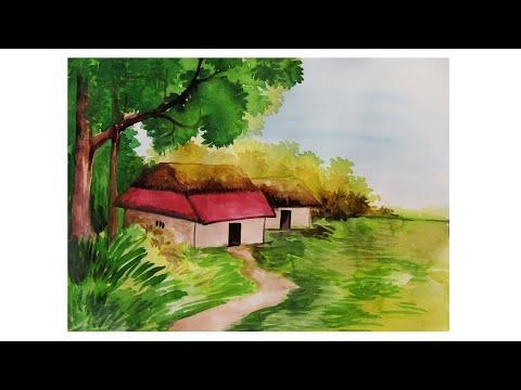 Watercolor Painting Landscape | Watercolor Painting easy landscape tutorial | Watercolor paintin