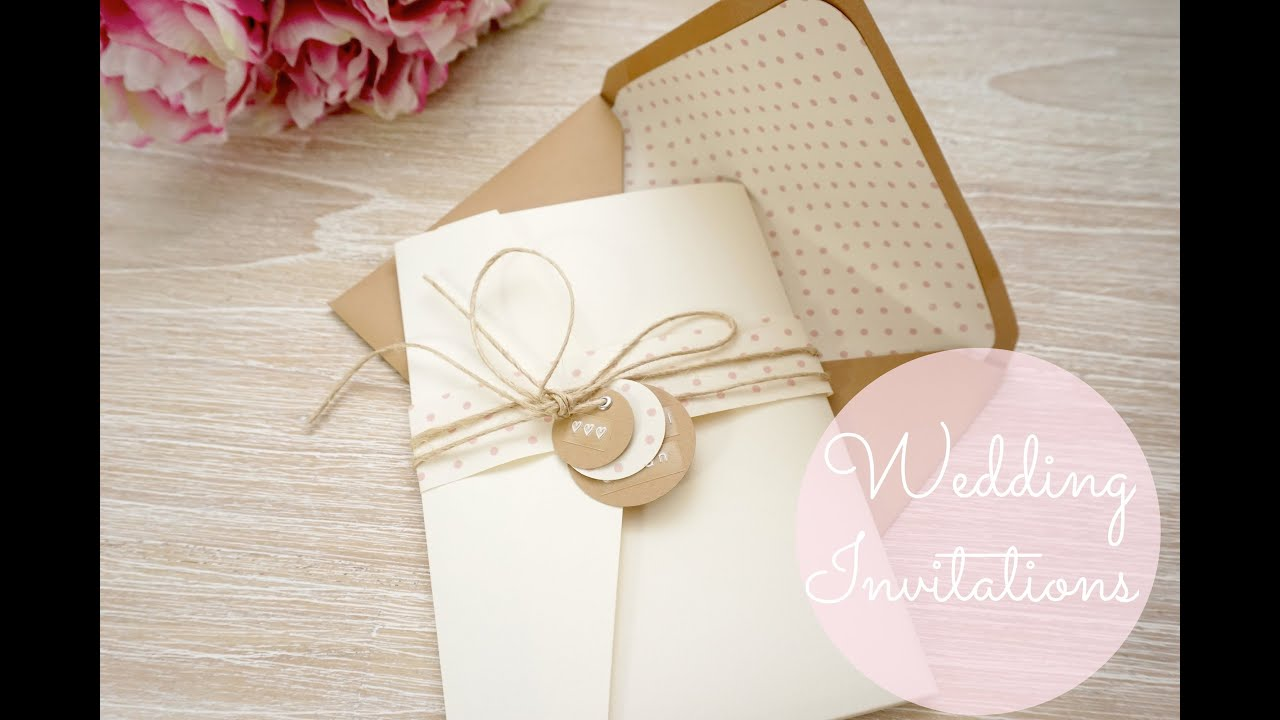 Diy wedding invitations cards pockets youtube solutioingenieria Image collections