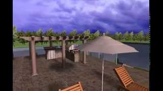 Realtime Landscape swimming pool in 3D with a negative edge