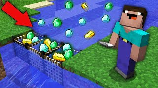 Minecraft NOOB vs PRO: HOW NOOB CAUGHT SO MANY TREASURE IN THIS UNUSUAL RIVER? Challenge trolling