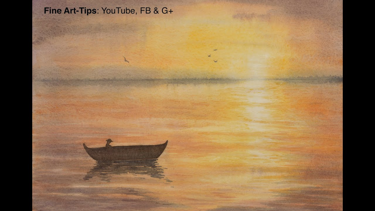 96f11342c How to Paint a Waterscape Sunset in Watercolor - Sea - Ocean - Lake - Water