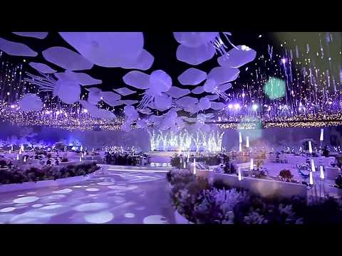 Ocean inspired wedding in Qatar ! Check out the jellyfish ceiling 😍!