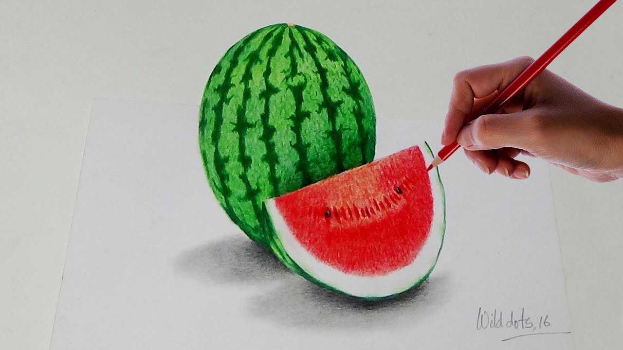 how to draw a watermelon with simple colored pencils youtube