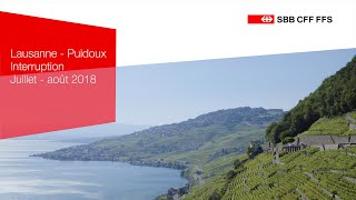 SWISS-FLY - CFF - Lausanne-Puidoux - Interruption juillet-août 2018 - FR
