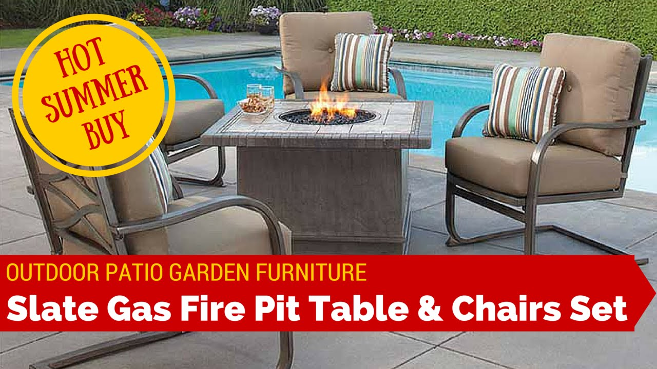 Cover for garden table and chairs - Outdoor Garden Patio Slate Fire Pit Heater Table Chairs Furniture Set Sunbrella Cushion Covers