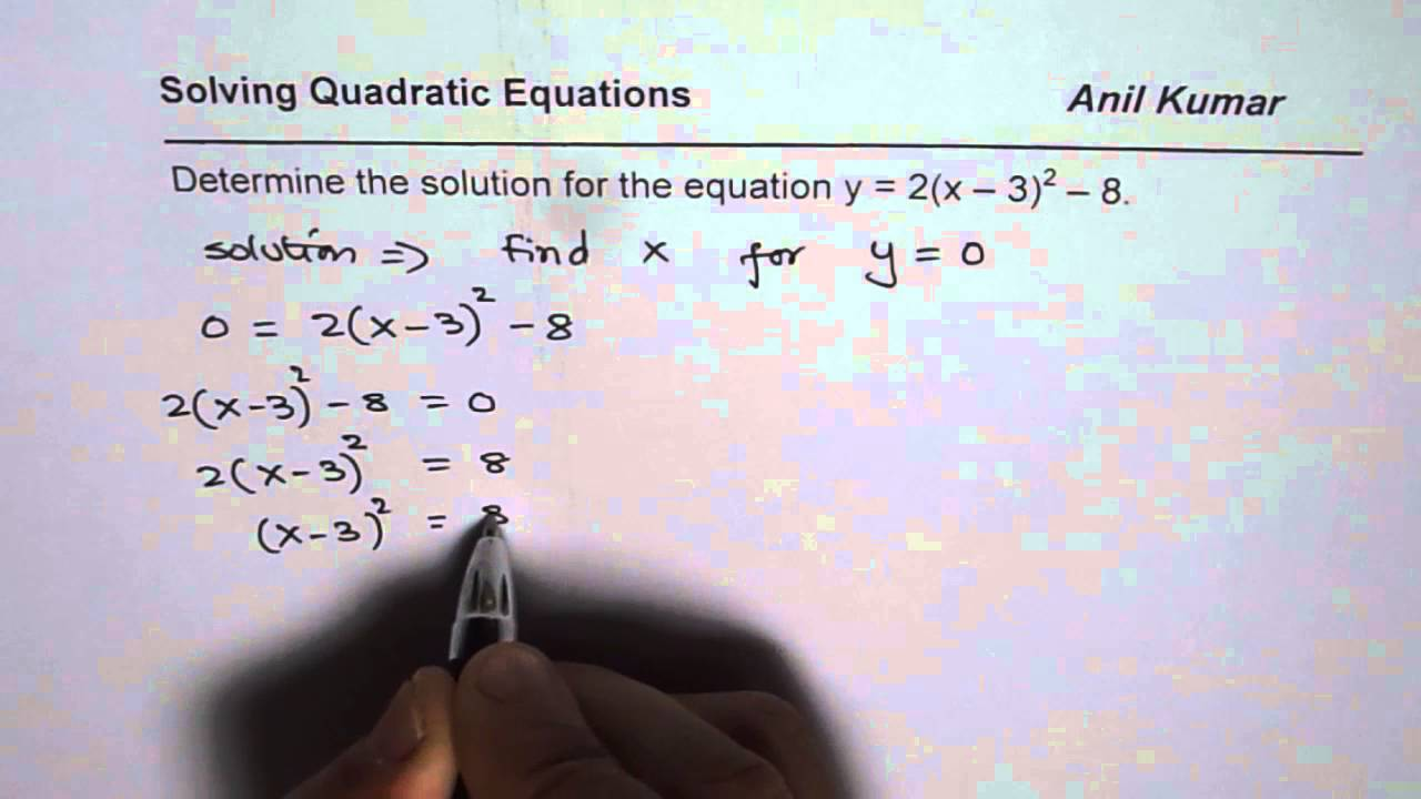 How to find solution of quadratic equation from vertex form youtube how to find solution of quadratic equation from vertex form falaconquin