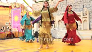 Egyptian women perform Arabic belly dance