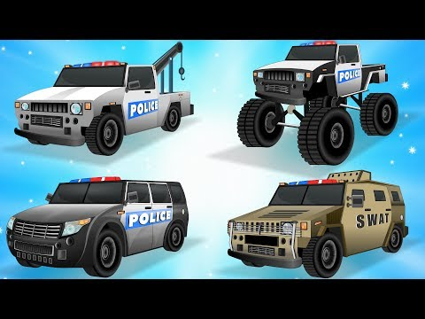 Learn Police Vehicles Names w Cars Garage - Police Car & Trucks - Cars Transformation - Kids Videos