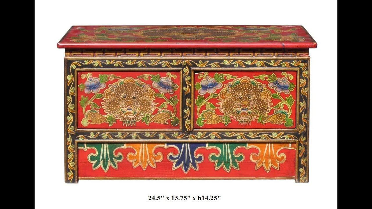 Tibetan Hand Painted Dragon U0026 Flower Motif Low Altar Table / Coffee Table  F889   YouTube