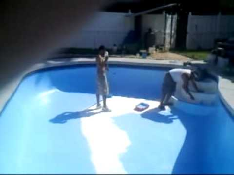 How to paint the pool epoxy youtube for Epoxy coating for swimming pools