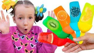Ulyana makes fruit Ice Cream