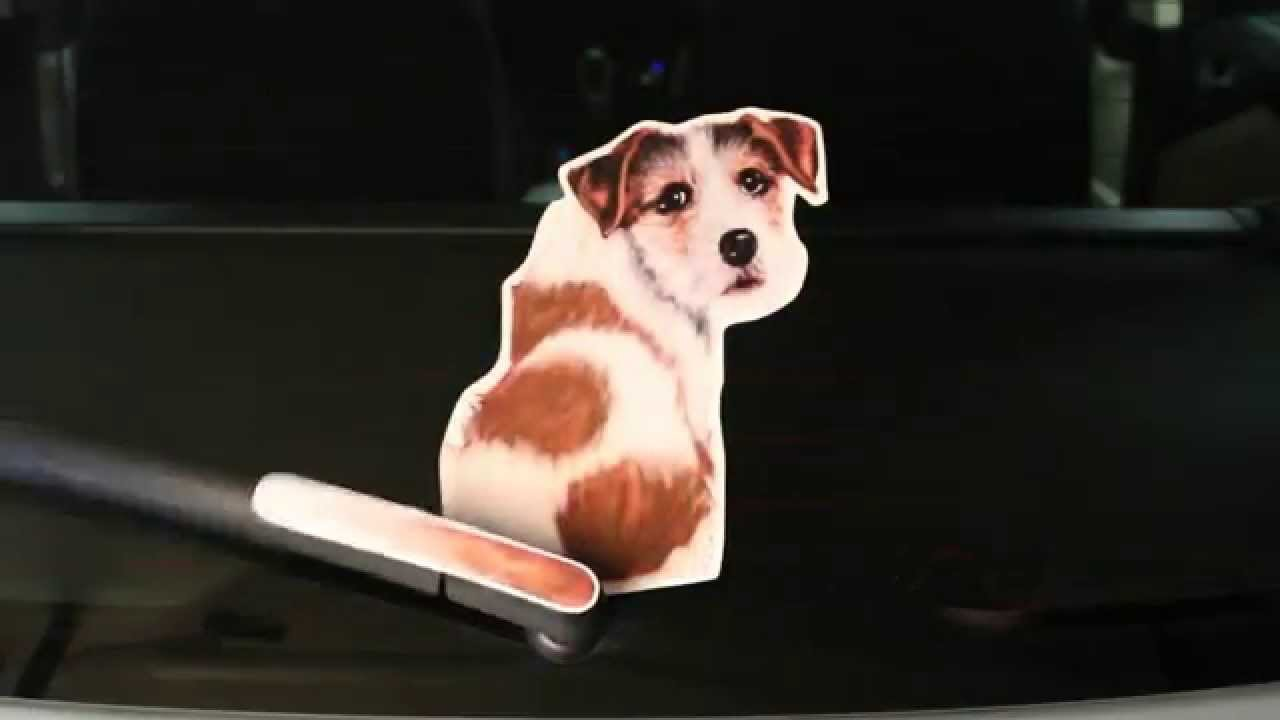 Jack russell terrier dog wagging wiper car decal sticker wagging wipers