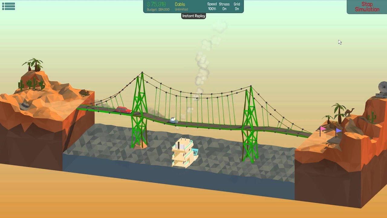 poly bridge solution 42m suspension bridge 2 7 youtube. Black Bedroom Furniture Sets. Home Design Ideas