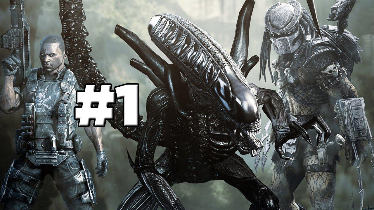 aliens vs predator | marine campaign | mission 1 | part 1 (xbox 360