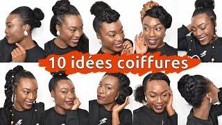 10 Coiffures Simples Rapides Sur Cheveux Crepus Courts Mi Long Youtube