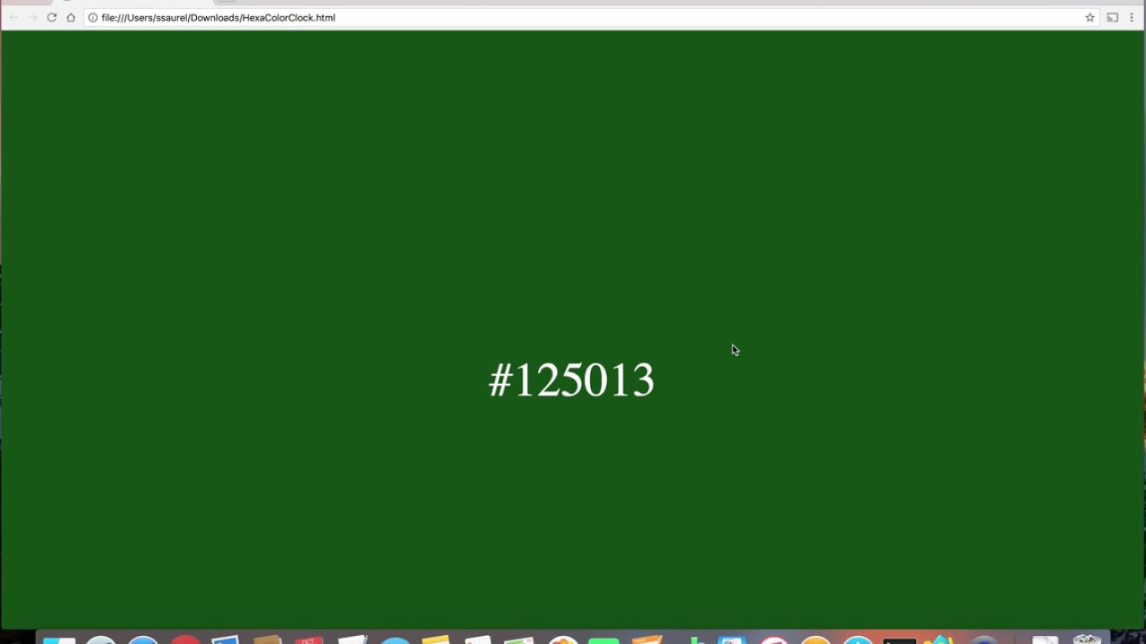Create a Hexadecimal Color Clock in HTML5 with Javascript - YouTube