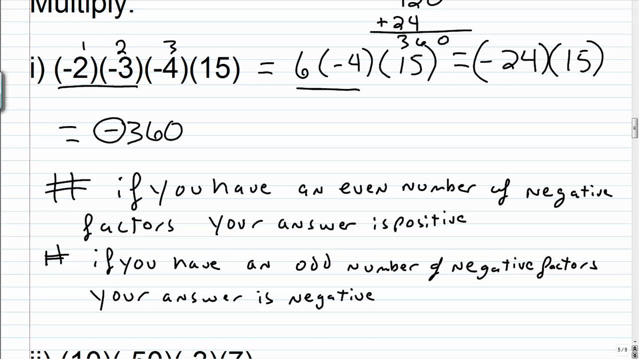 Multiplying and Dividing Integers - YouTube