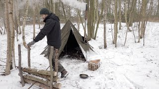 Solo Winter Camp in the Snow: Canvas Tent, Bushcraft, Woodstove, | Snowstorm Camping