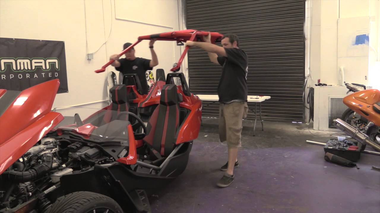 slingshot roof top install video how to best top for your slingshot bullet concepts upgrade youtube - Polaris Slingshot Roof