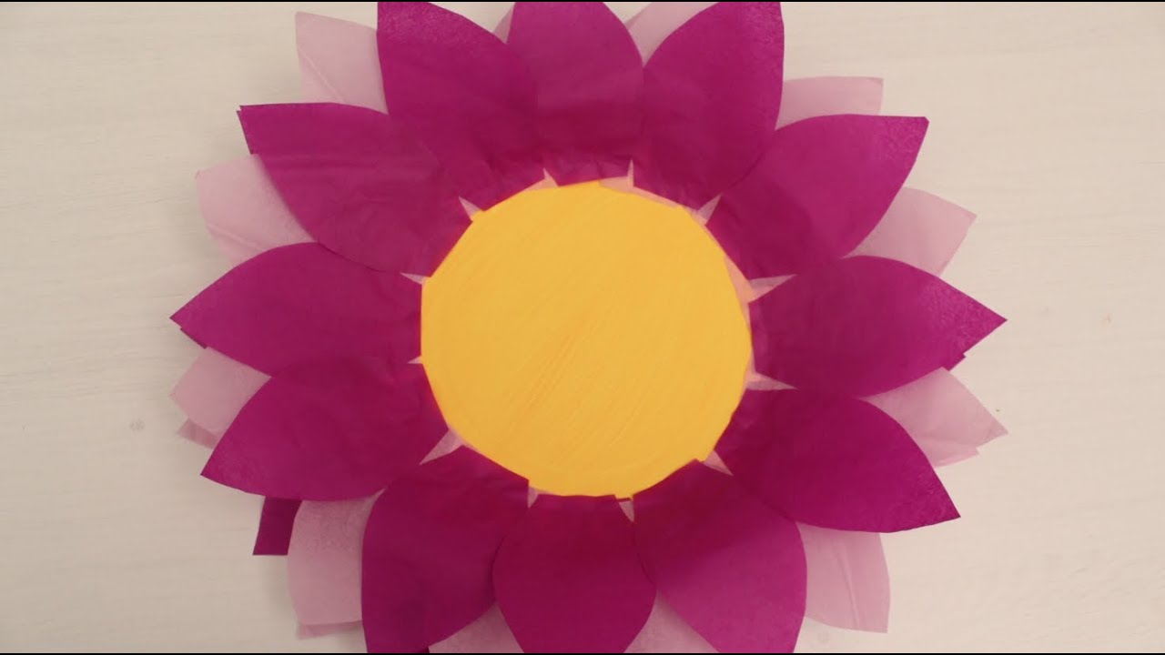 How to make paper plate and tissue paper flower youtube mightylinksfo