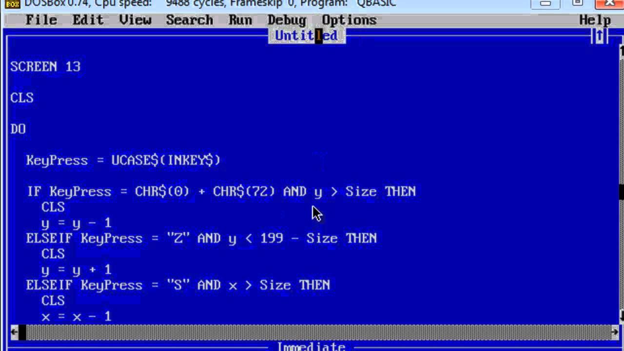 QBasic Tutorial 34 - Moving an Object With Arrow Keys - QB64