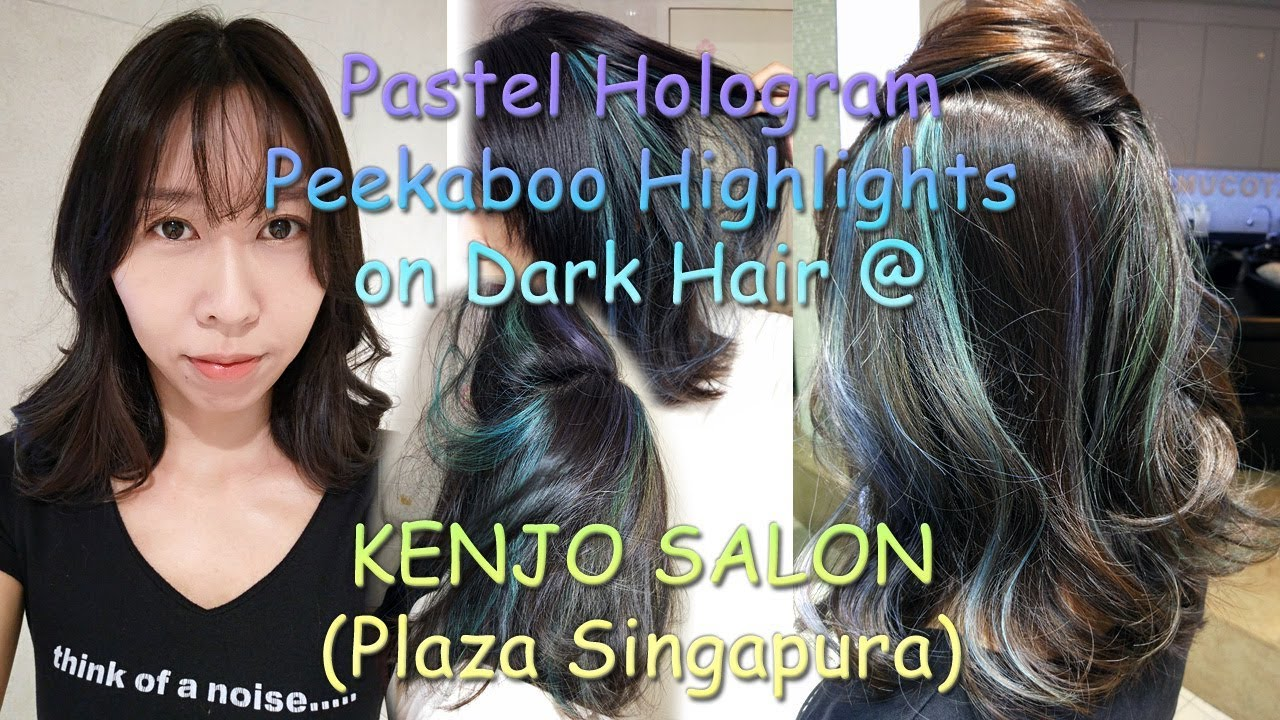 Pastel Hologram Peekaboo Highlights On Dark Hair Slow Mo Youtube