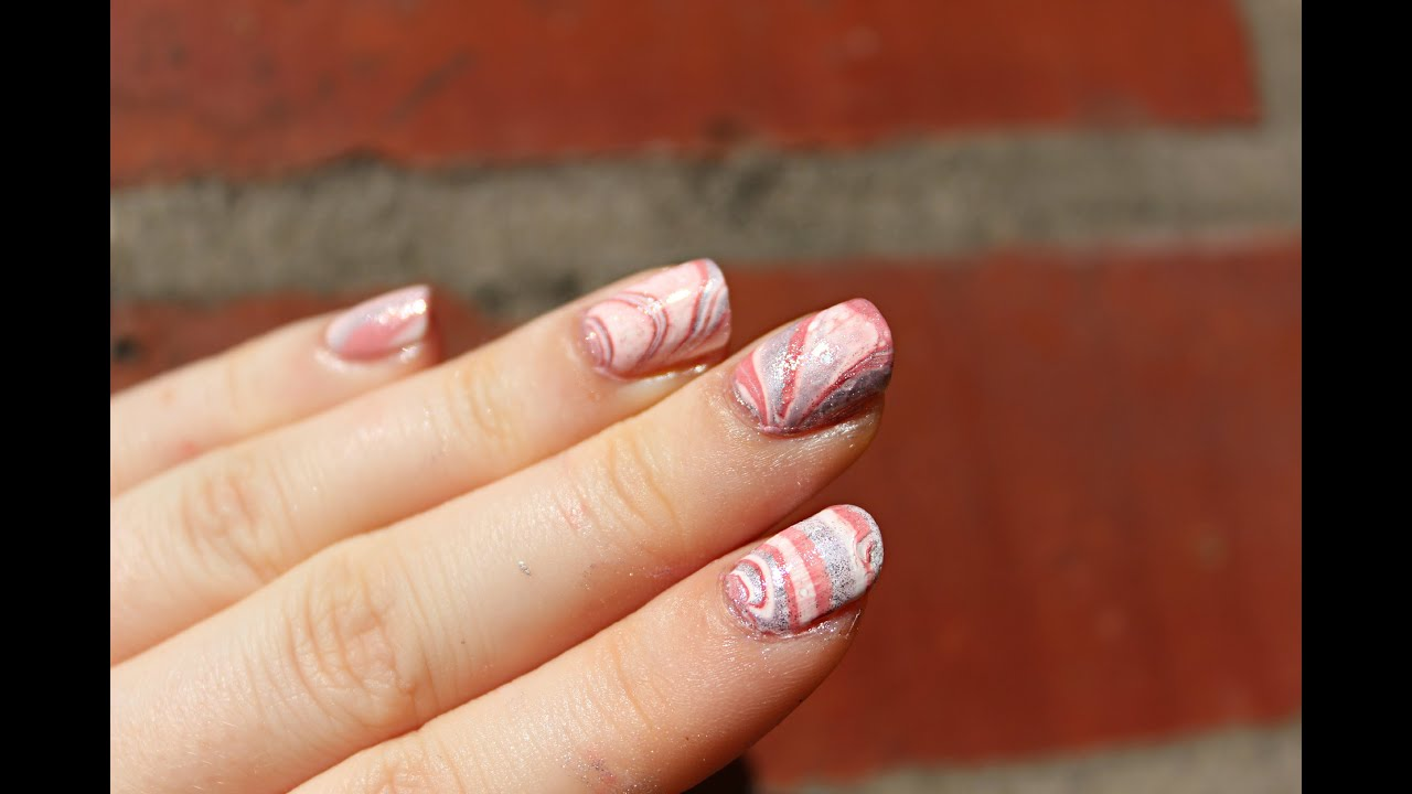 Nageldesign Mit Glitzer Naildesign Pink Glitter Water Marble Nageldesign Rosa Glitzer Water Marble