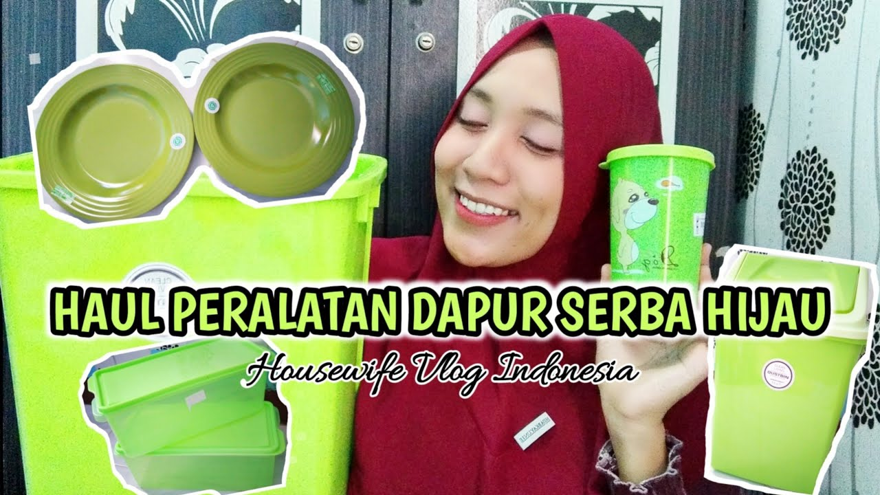 Haul Peralatan dapur serba hijau  Housewife vlog indonesia - YouTube
