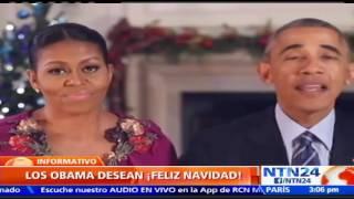 """""""¡Feliz Navidad a todos!"""", el mensaje de los Obama desde la Casa Blanca con un llamado a la unidad"""
