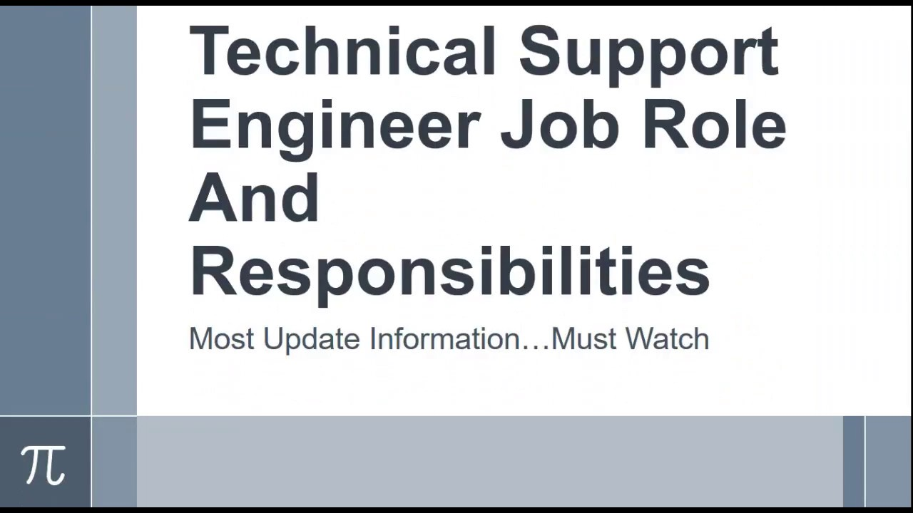 Download Technical Support Engineer Job Role And  Responsibilities