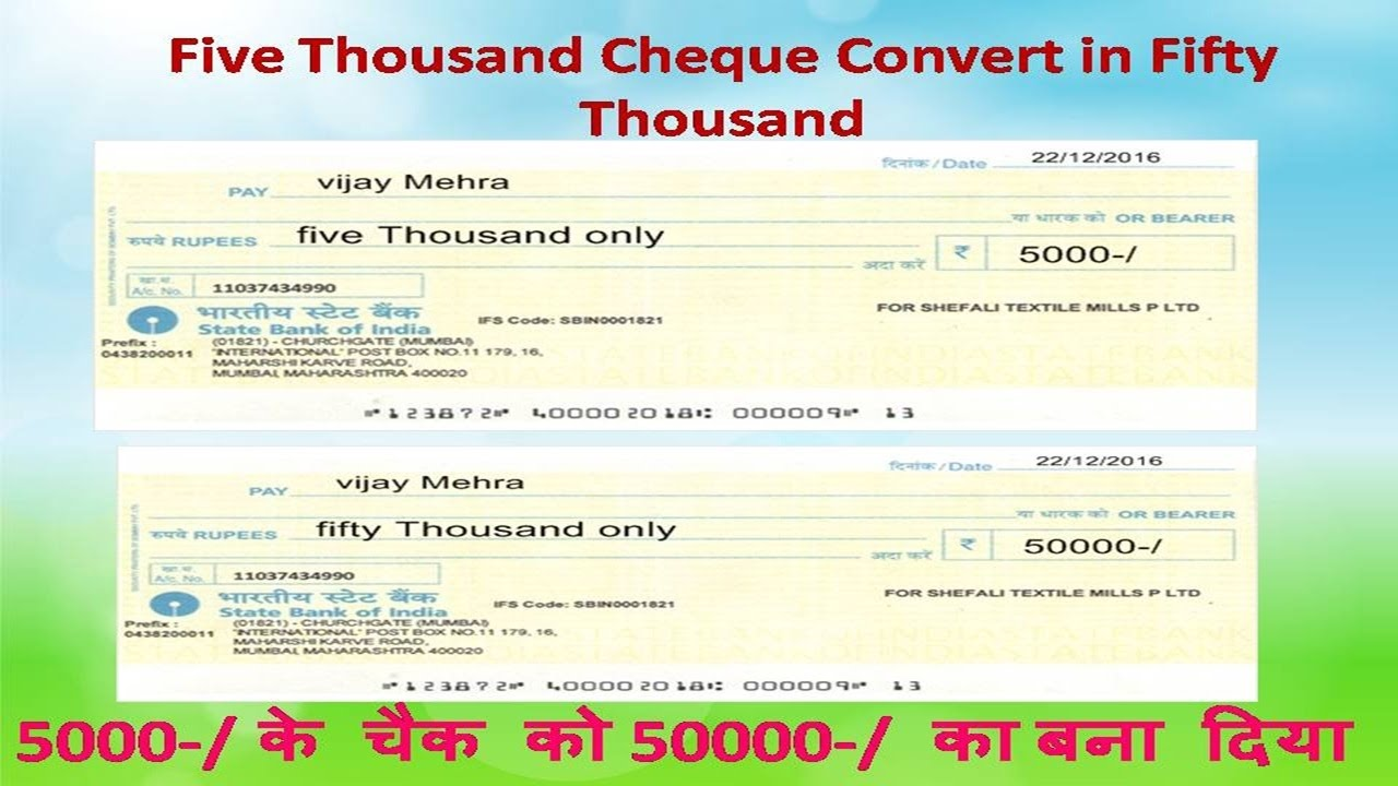 Five Thousand Cheque Convert In Fifty 5000 क च 50000 बन द य