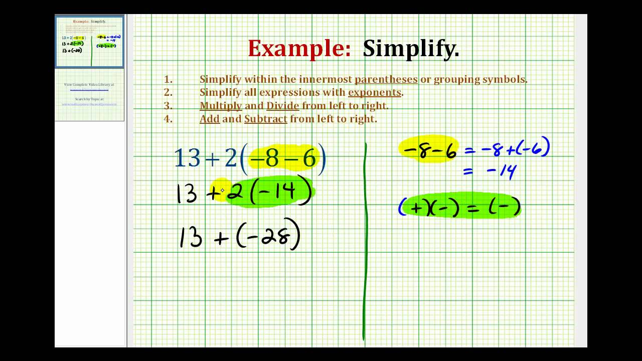 Ex simplify an expression with integers using the order of ex simplify an expression with integers using the order of operations biocorpaavc Choice Image